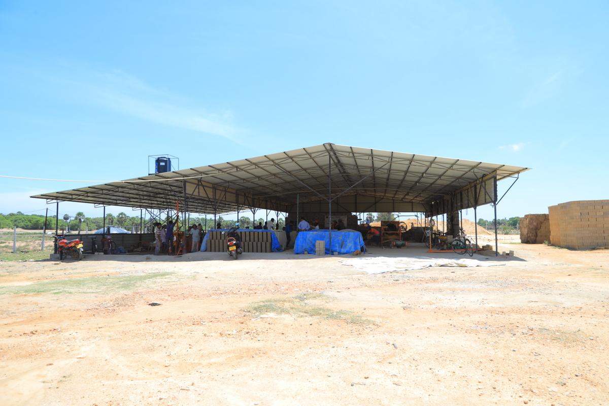 Yard in Batticaloa that produces compressed stabilized earth blocks